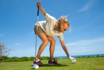 """Golfing Laughter Spot :  """"Each man harbours a burning desire to beat her"""""""